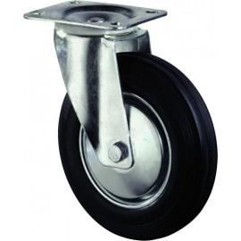 Zwenkwiel zwart+velg+plaat 125mm