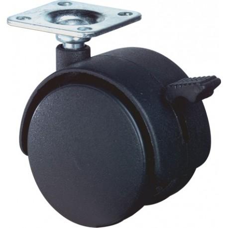 Meubelwiel zwart rem+plaat 50mm